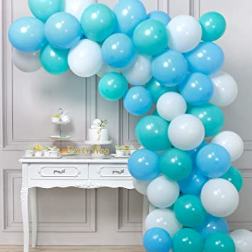 Partywoo Globos Azules Y Blancos 60 Piezas 10 Pulgadas Globos Verde Azulado Globos Turquesas Globos Azules Globos Blancos Para Decoraciones De Baby