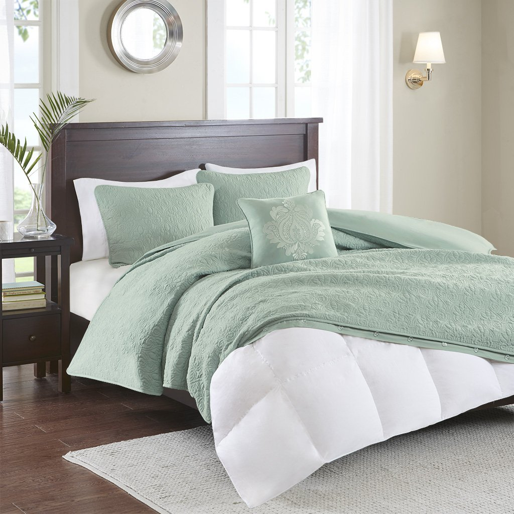Madison Park Quebec Duvet Cover King/Cal King Size - Seafoam, Damask Duvet Cover Set – 4 Piece – Ultra Soft Microfiber Light Weight Bed Comforter Covers