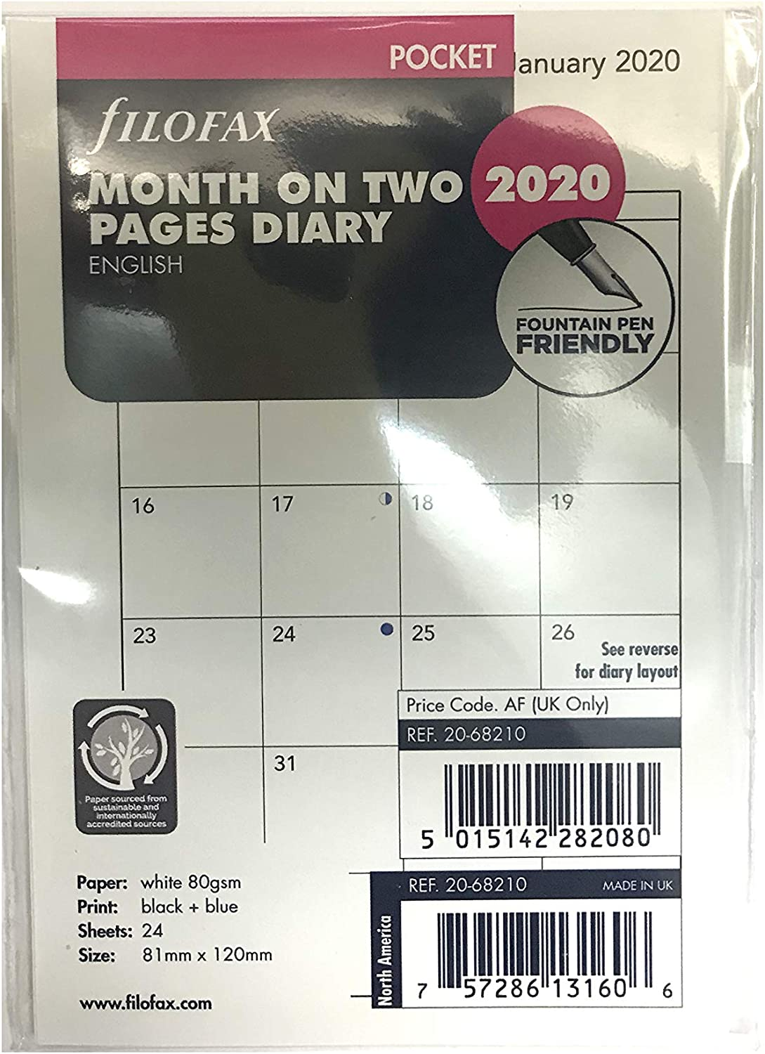 Pocket Month On Two Pages Block Format 2019 Diary Refills Filofax