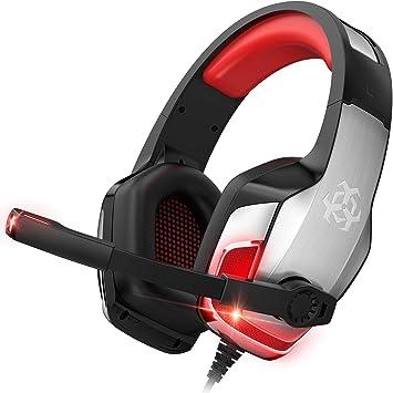 ONIKUMA - Auriculares de diadema para PS4, Xbox One, Nintendo Switch, PC, Mac, ordenador portátil, auriculares para juegos con cancelación de ruido, luz LED, sonido envolvente de bajo, orejeras suaves, color rojo: