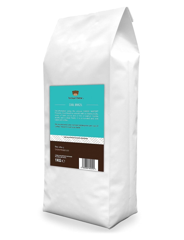 Brown Bear Cool Brazil Café En Grano Descafeinado mediante Proceso Suizo de Agua 1 kg: Amazon.es: Alimentación y bebidas