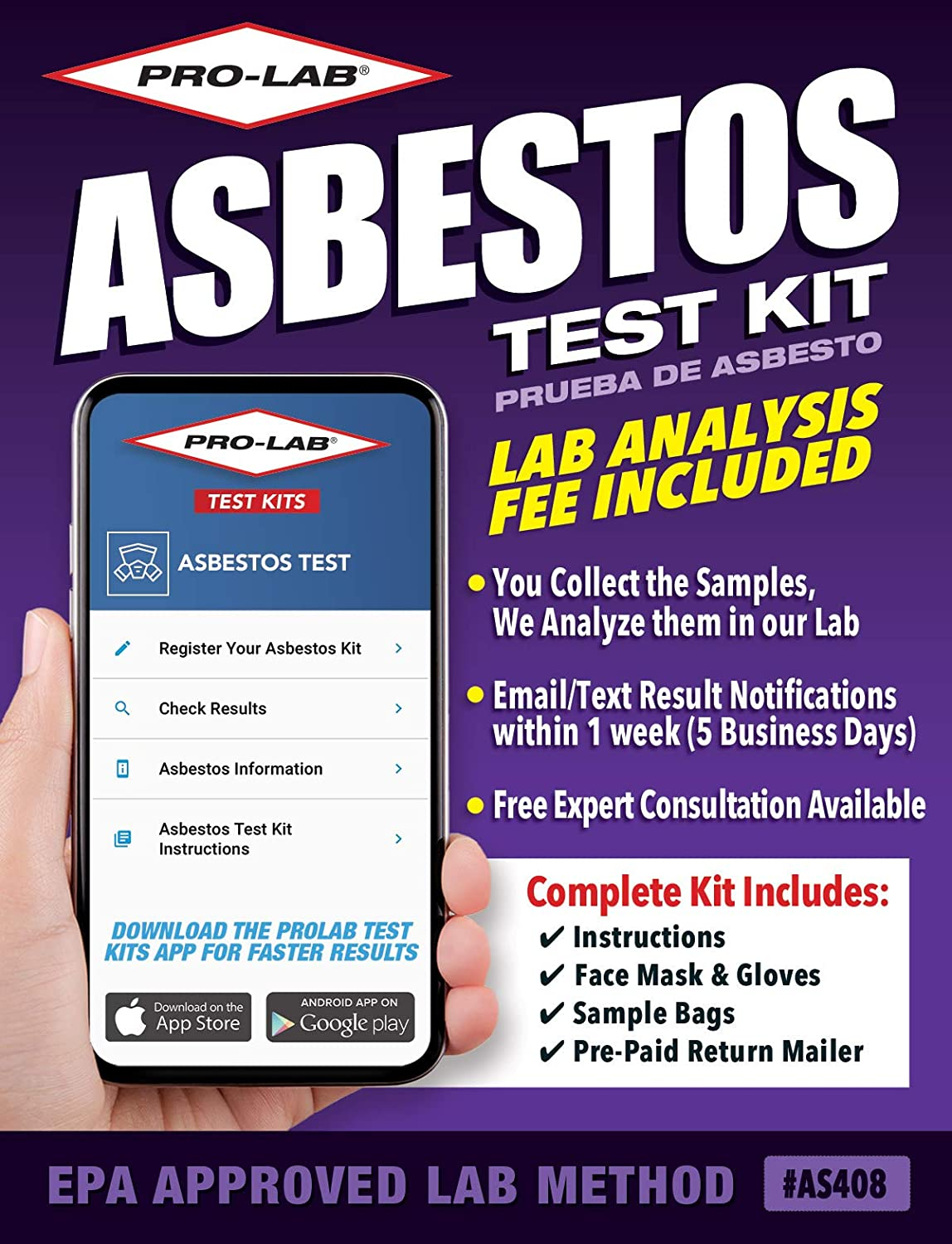 ProLab Asbestos Test Kit Lab Fee Included Emailed Results Within Week Includes Return Mailer, 1.6 Ounce