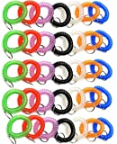 Pack of 35 Stretchable Plastic Bracelet Wrist Coil Wrist band Key Ring Chain Holder Tag (7 COLORS MIXED)