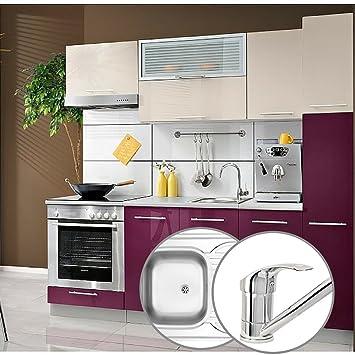 Completo 8 unidades Juego de cocina, de alto brillo, beige/violeta ...