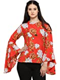 Serein Women's Top (Orange Printed Floral with Flute Sleeves)