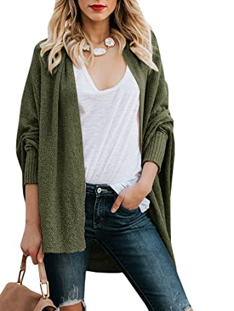 be5ac32b12 Image Unavailable. Image not available for. Color  Ermonn Womens Open Front  Boyfriend Cardigans Long Sleeve Loose Knitted Oversized Sweaters