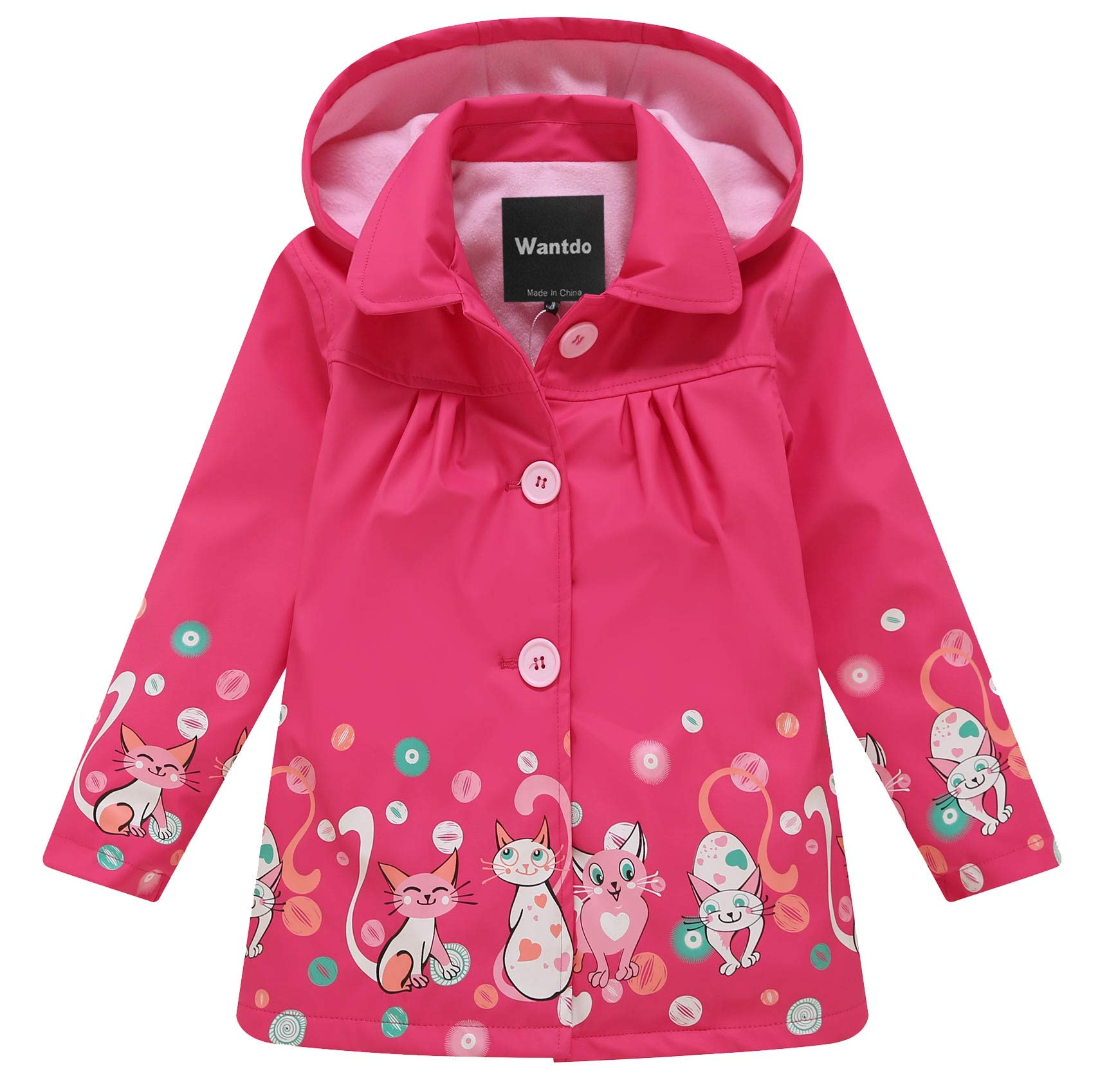 Wantdo Girl's and Boy's Soft Shell Raincoat Hooded Rain Jacket Waterproof Windbreaker(Rose Red, 8-9Y) by Wantdo