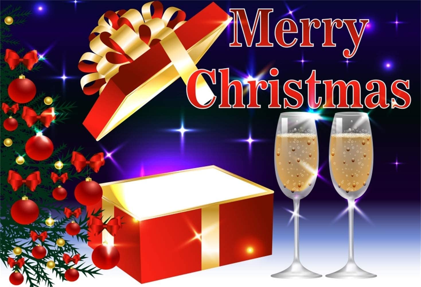 Merry Christmas Backdrop Polyester 8x6.5ft Cartoon Opened Red Gift Box Red Balls Decors Xmas Tree Champagne Goblets Shiny Stars Background Child Kids Baby Adult Shoot Xmas New Year Party Banner