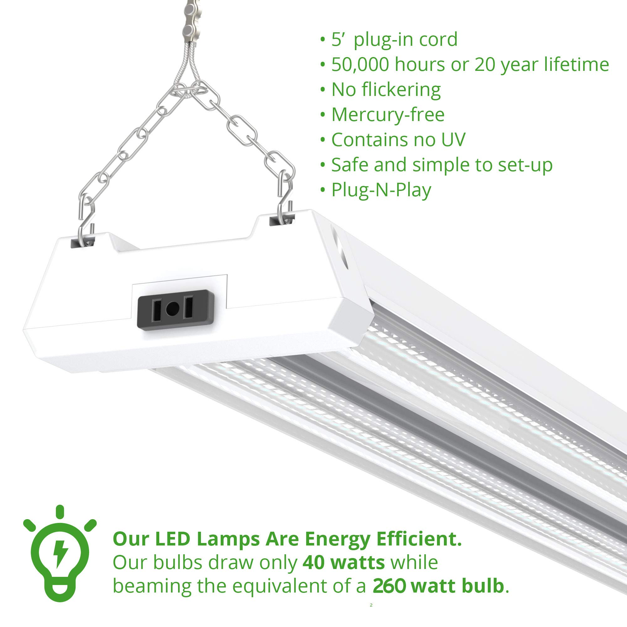 Sunco Lighting 4 Pack 4ft 48 Inch LED Utility Shop Light 40W (260W Equivalent) 5000K Kelvin Daylight, 4500 Lumens, Double Integrated Linkable Garage Ceiling Fixture, Clear Lens - Energy Star/ETL by Sunco Lighting (Image #2)