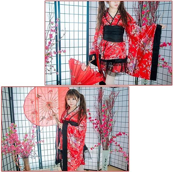 noir LUOEM Kimono Traditionnel Japonais Femme pour Cosplay D/éguisement de F/ête Taille XXXL