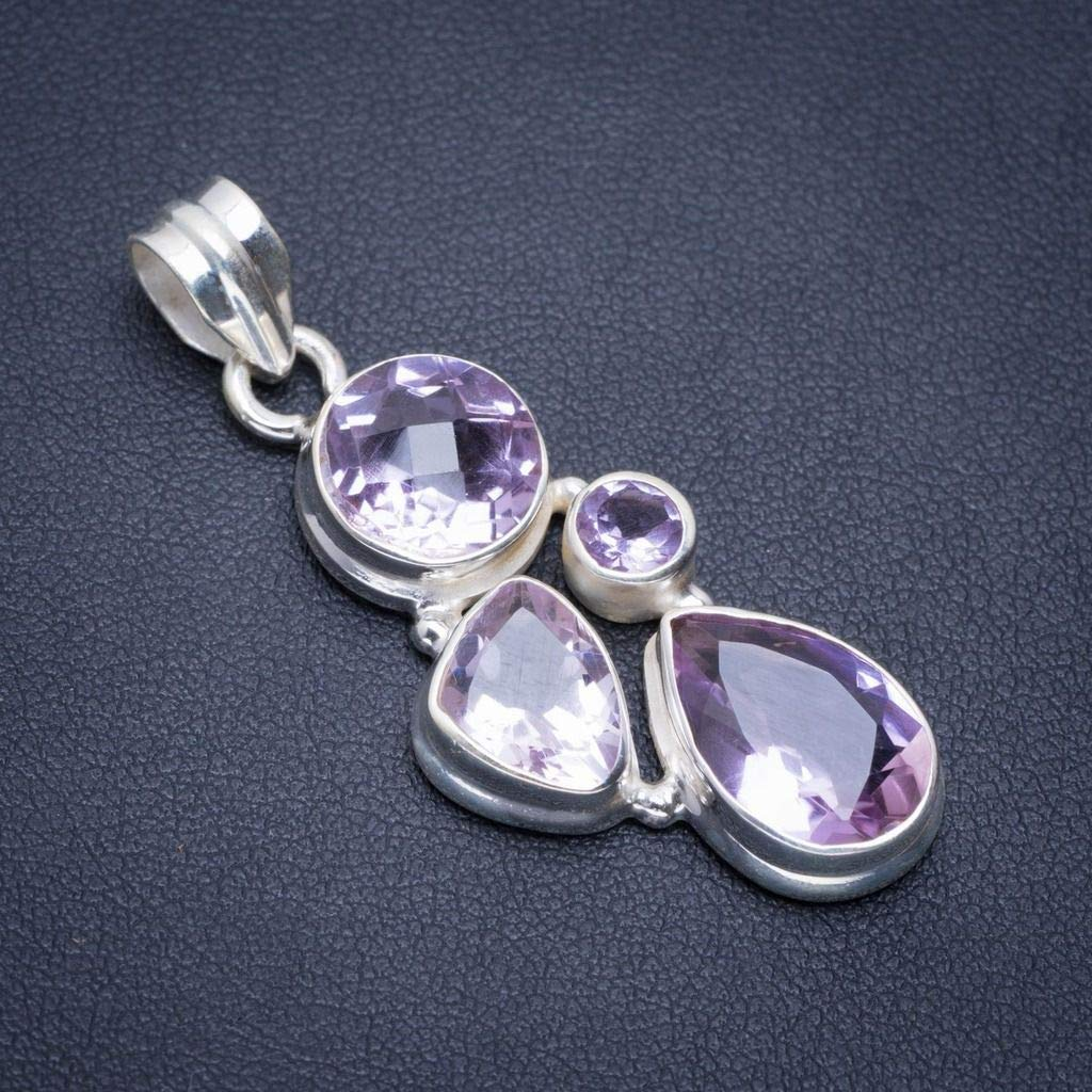 Natural Amethyst Handmade Unique 925 Sterling Silver Pendant 1.75 A1806
