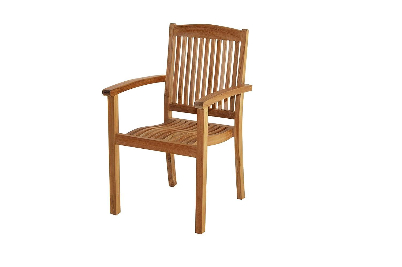 Ploß Stapelsessel Arlington - Premium Teakholz-Sessel mit FSC-Zertifikat - Terrassensessel stapelbar - Holz-Gartenstuhl ergonomisch - Gartensessel mit Armlehne - Garten-Möbel für Terrasse & Balkon, 60 x 56 x 94 cm