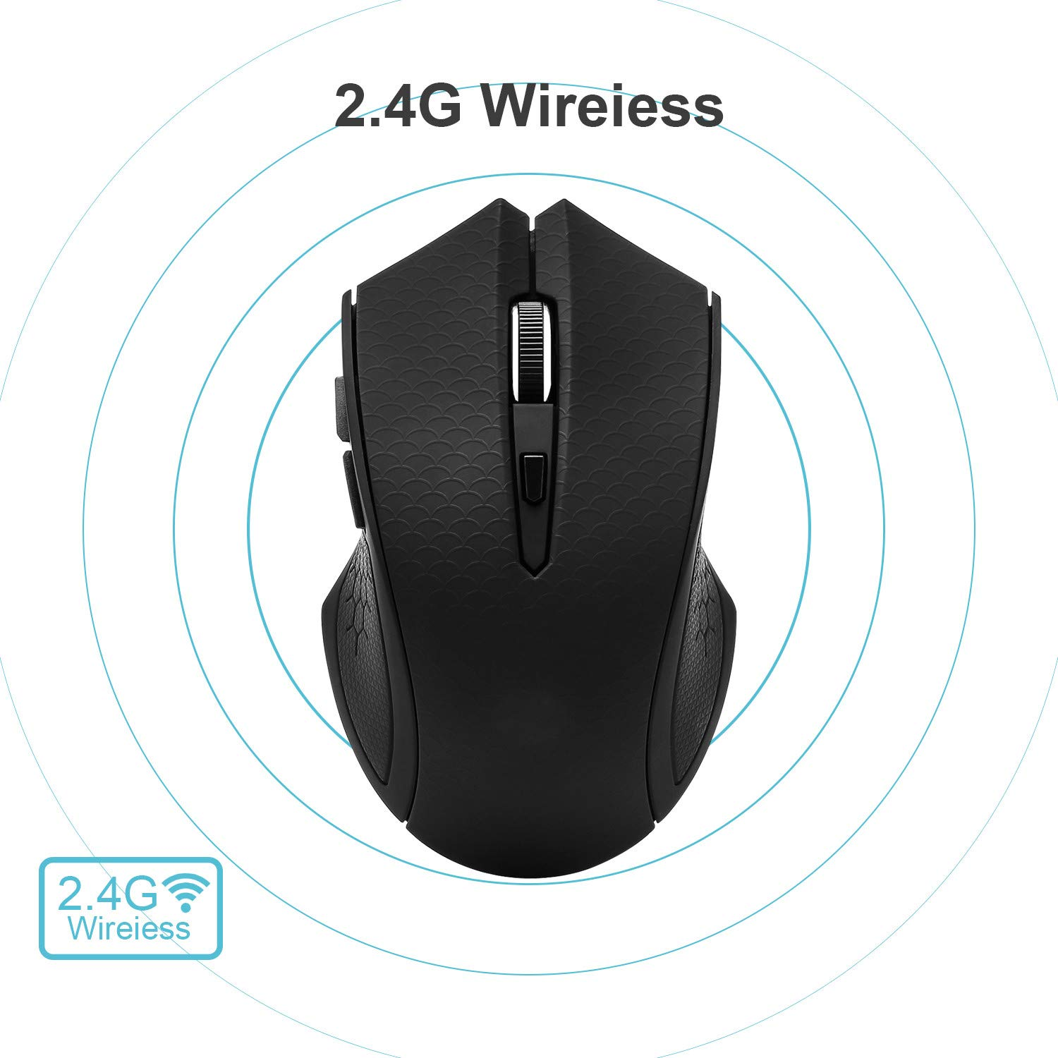 Silent Click Optical Mice 3 Adjustable DPI Levels with USB Receiver Noiseless Wireless Mouse
