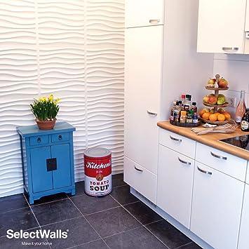 SelectWalls Parement Mural Bois Nikki | 10 Panneaux Muraux 3D De 50x50cm |  2,5m²