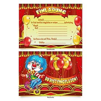 Einladung Kindergeburtstag Einladungskarten Zirkus 8 Stück Mädchen Jungen Clown