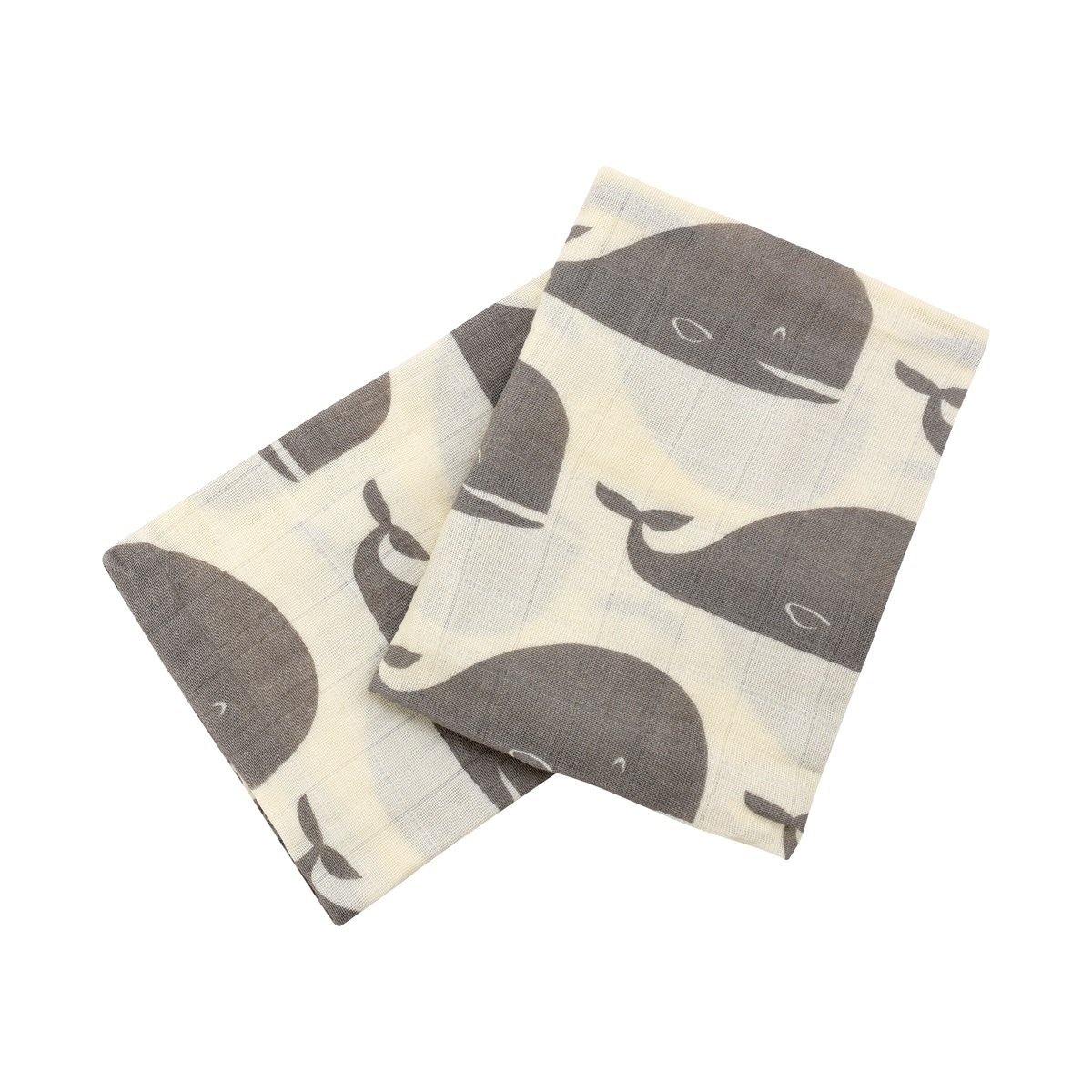 Milkbarn Organic Cotton Burp Cloths''Grey Whale'' - Set of Two