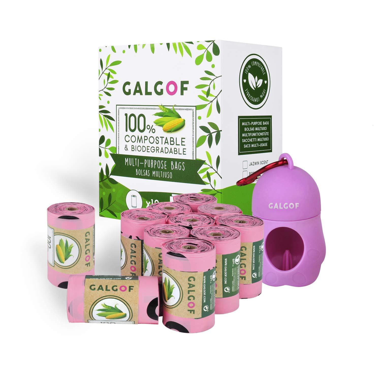 GALGOF Bolsas de Basura higiénicas y biodegradables para Caca y heces de Perro + Dispensador. 10 Rollos perfumados, compostables y ecológicos para ...