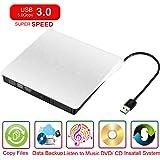 【Neue Version 】Glunlun Externes DVD Laufwerk, USB 3.0 DVD/CD Brenner für Laptops und Desktops Notebook unterstützt Windows XP/2003/Vista/7/Win8, Mac OS - ( Weiß )