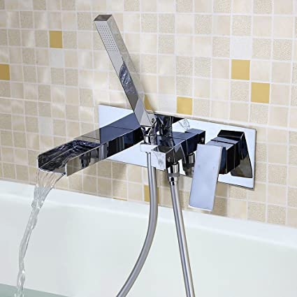 JinYuZe Bath Tub Filler Faucet,Waterfall Square Wall Mounted Bathroom Faucet  With Handheld Shower,