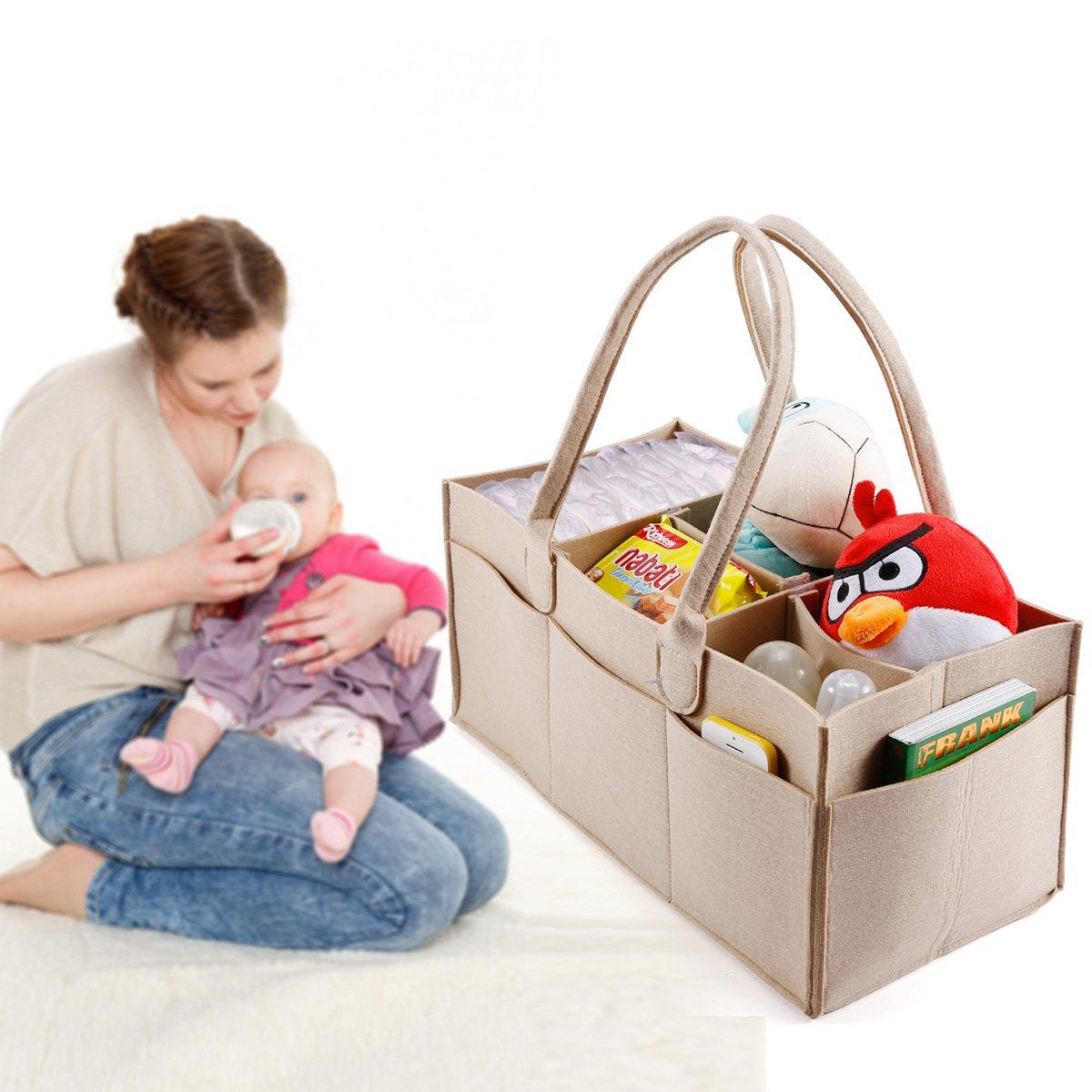 5 compartimentos Organizador de pañales bebé pañales bolsa de basura de almacenamiento Caddy, guardería Bebé Toallitas cesta: Amazon.es: Hogar