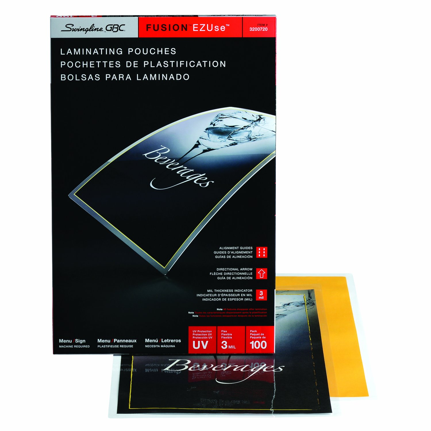 Swingline GBC Thermal Laminating Sheets / Pouches, Menu Size, 3 Mil, EZUse, 100-Count (3200720)