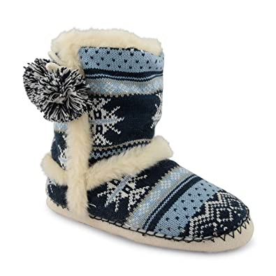 9edc84ee6ec22e Ladies Dunlop Furry Ankle Boot Bootee Slipper Womens Eskimo Slippers Warm  Lining, DLH7814 Navy Size