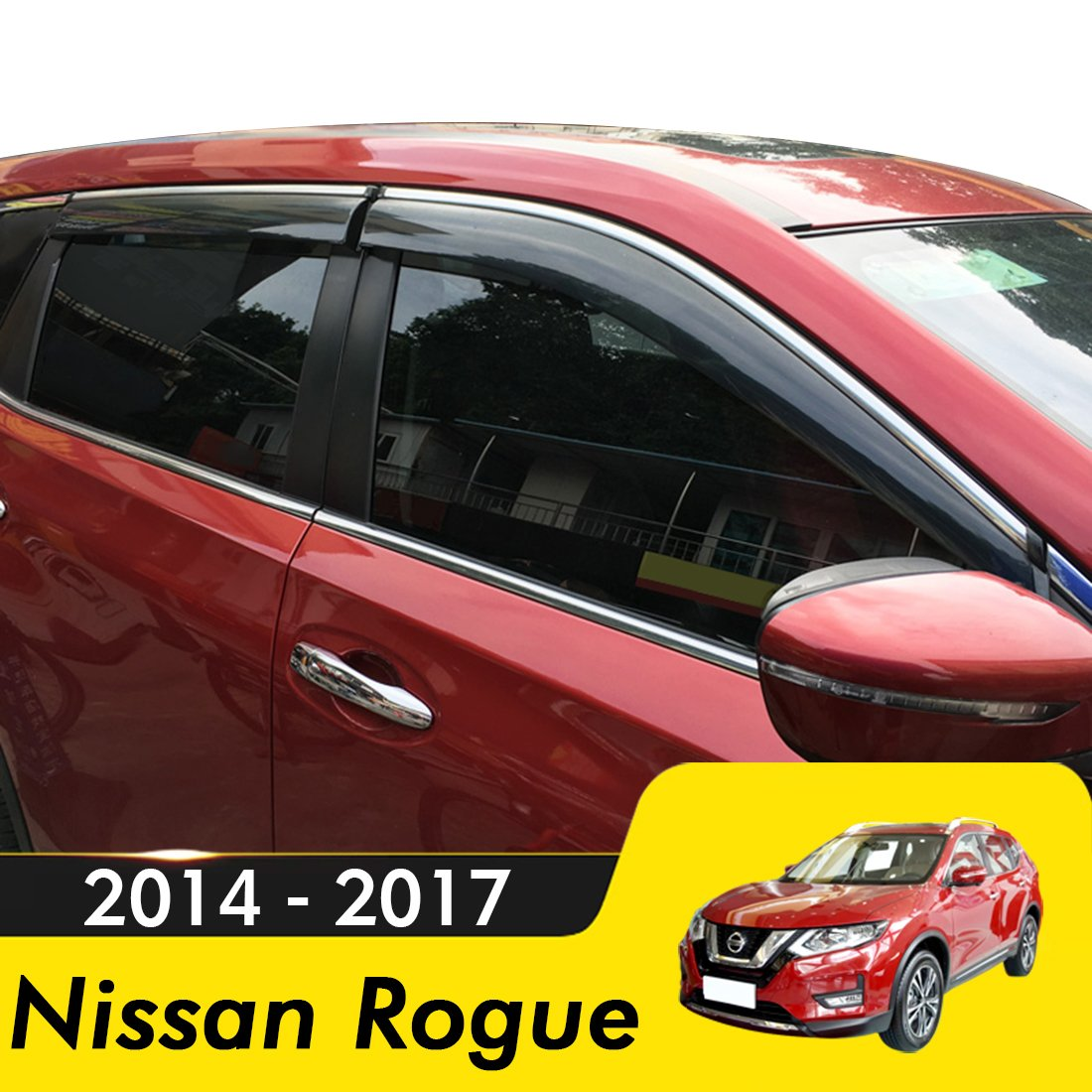 Compatible for 2014-2017 Nissan Rogue Visor Rain Sun Deflectors Car Window Ventvisor Shade Wind Deflector biosp