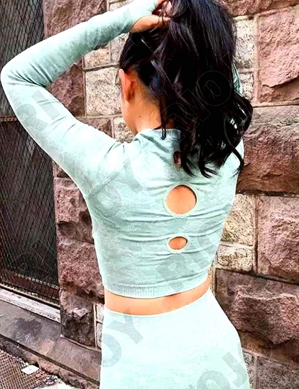 RIOJOY Women Camo Seamless Yoga Gym Crop Top Long Sleeve with Thumbhole Workout Running Shirts(Selling Separately) #1 Green