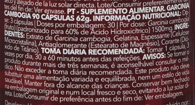 Prozis 100% Extracto puro de Garcinia Cambogia 90 Cápsulas 1500mg, Suplemento de HCA: Amazon.es: Salud y cuidado personal
