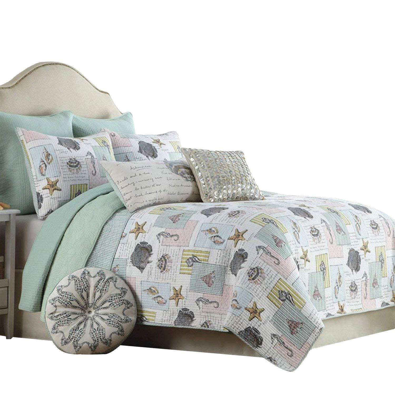 Amazon Com Brandream Ocean Bedding Set Seashells Beach Themed Nautical Bedding Queen Comforter Set Home Kitchen