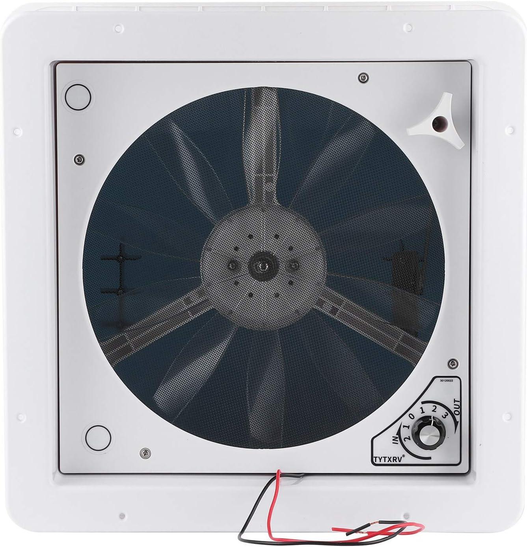 Yctze Ventilador de escape de ventilación de 12 V / 24 V, ajuste manual de engranajes, ventilación eléctrica de 2 vías para caravana, caravana, yate