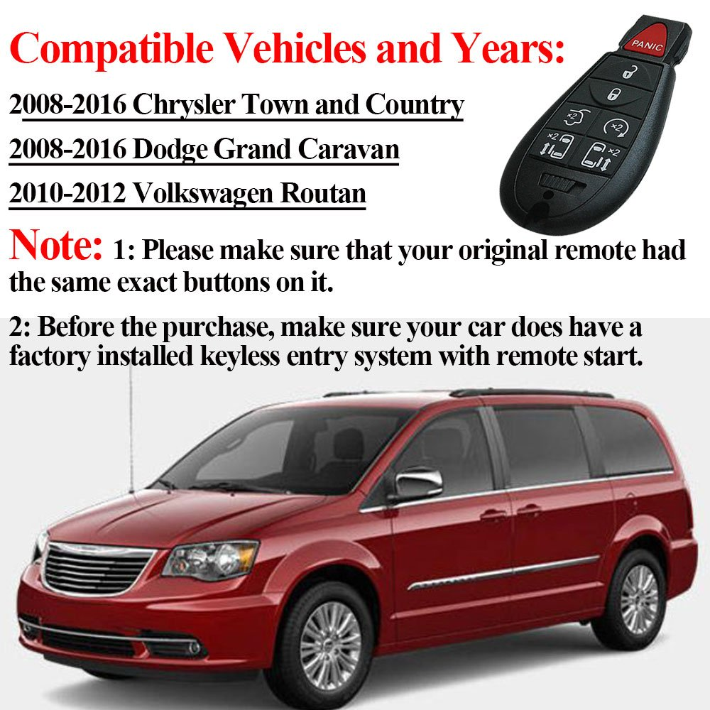 Compatible For Chrysler Town And Country Key Fob New Keyless Entry Remote Control Car Replacement Fobik Bestremotes 7 Button M3n5wy783x