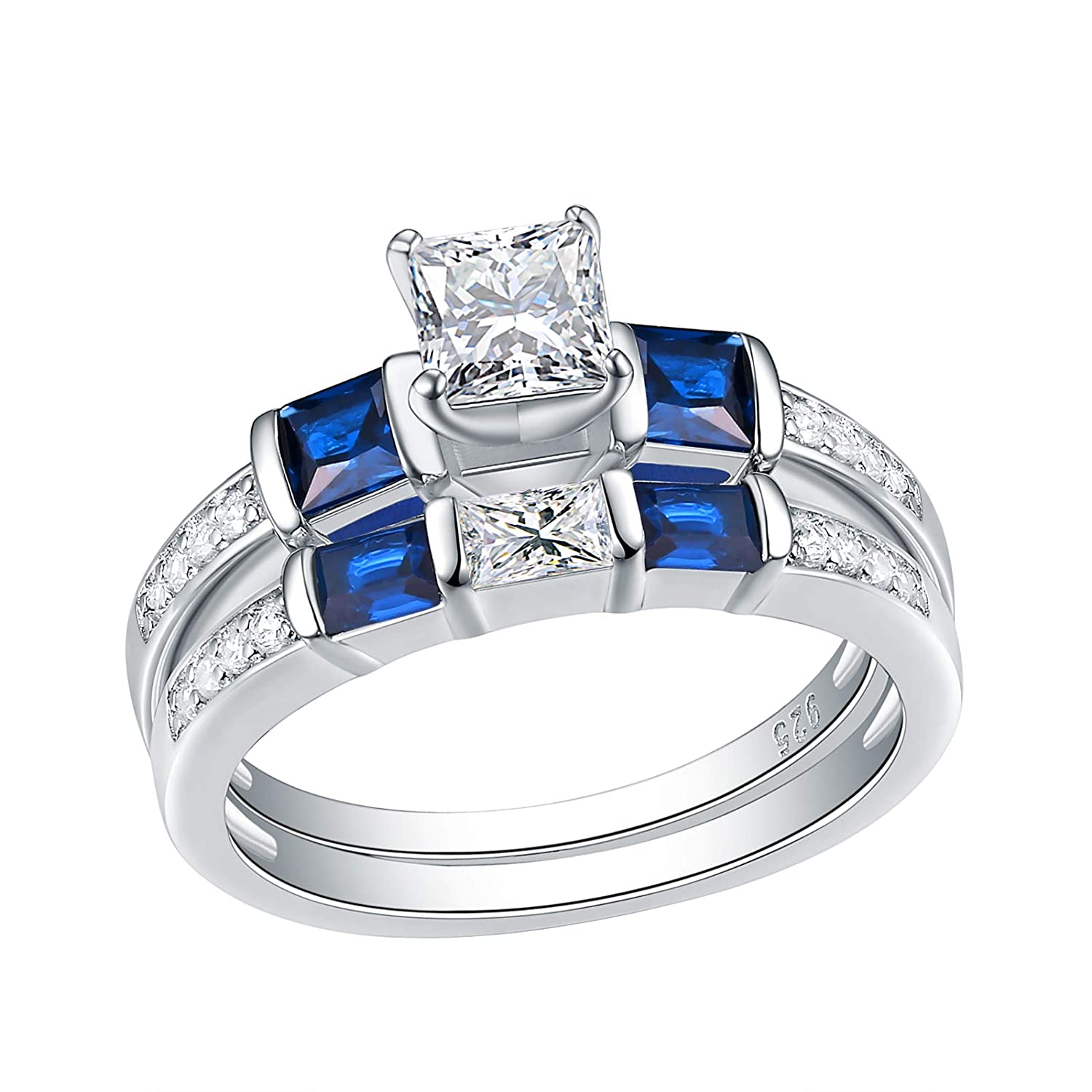 Amazon Wuziwen Engagement Wedding Rings Set For Women Created Blue Sapphire Cz Sterling Silver Size 510 Jewelry: Cz Wedding Band Ring At Reisefeber.org