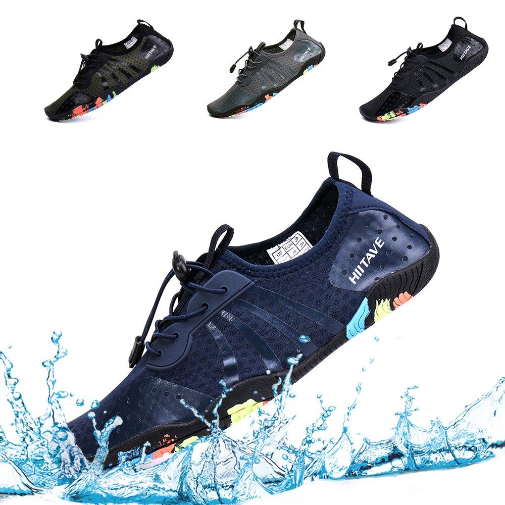 hiitave Mens Womens Aqua Beach Water Shoes Quick Dry Barefoot Swim Socks for Surf Pool River Walking Diving Water Sports H8080SBlack39