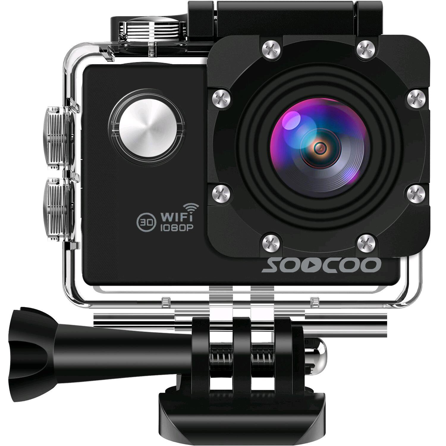 WIFI Action Camera, SOOCOO Sports Video Camera Waterproof 12MP Full HD 1080P 2.0'' LCD 170 degree Wide Angle, 30M/98ft Underwater Diving Camera Camcorder with 2 Batteries (SD Card Not Included)-Black