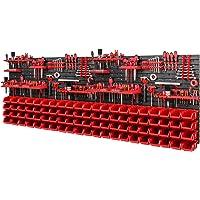 Gereedschapswand opslagsysteem 2308 x 780 mm - SET gereedschapshouders en 84 stuks rode stapelboxen - wandrek…
