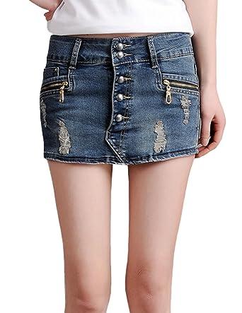 67c64b7fb ZANLICE Women's Skinny Distressed Button Fly Jenas Shorts Denim Skirt  Shorts 1X