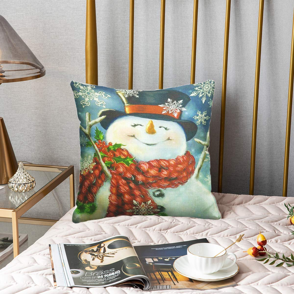 TIGERNU Throw Pillow Covers 18x18 inch (45x45cm) Linen Pillowcases Christmas Decorations Winter Snow Auto Church Cushion Cover for Couch Bed Sofa Car- Set of 4