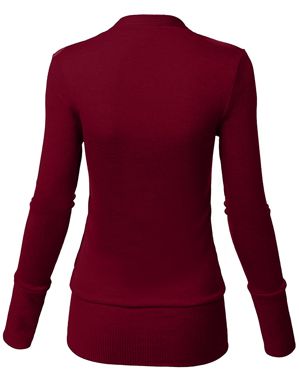 Steven McQueen Women's Solid Button Front Knitwears Long Sleeve Casual Cardigans Burgundy L