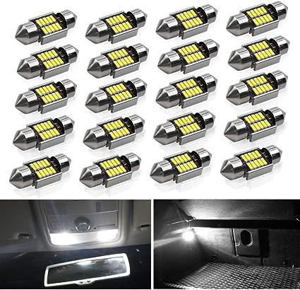 20x Dome Lights Xenon Blue Car Interior LED Lamps Bulb Festoon 5730-6-SMD 36mm