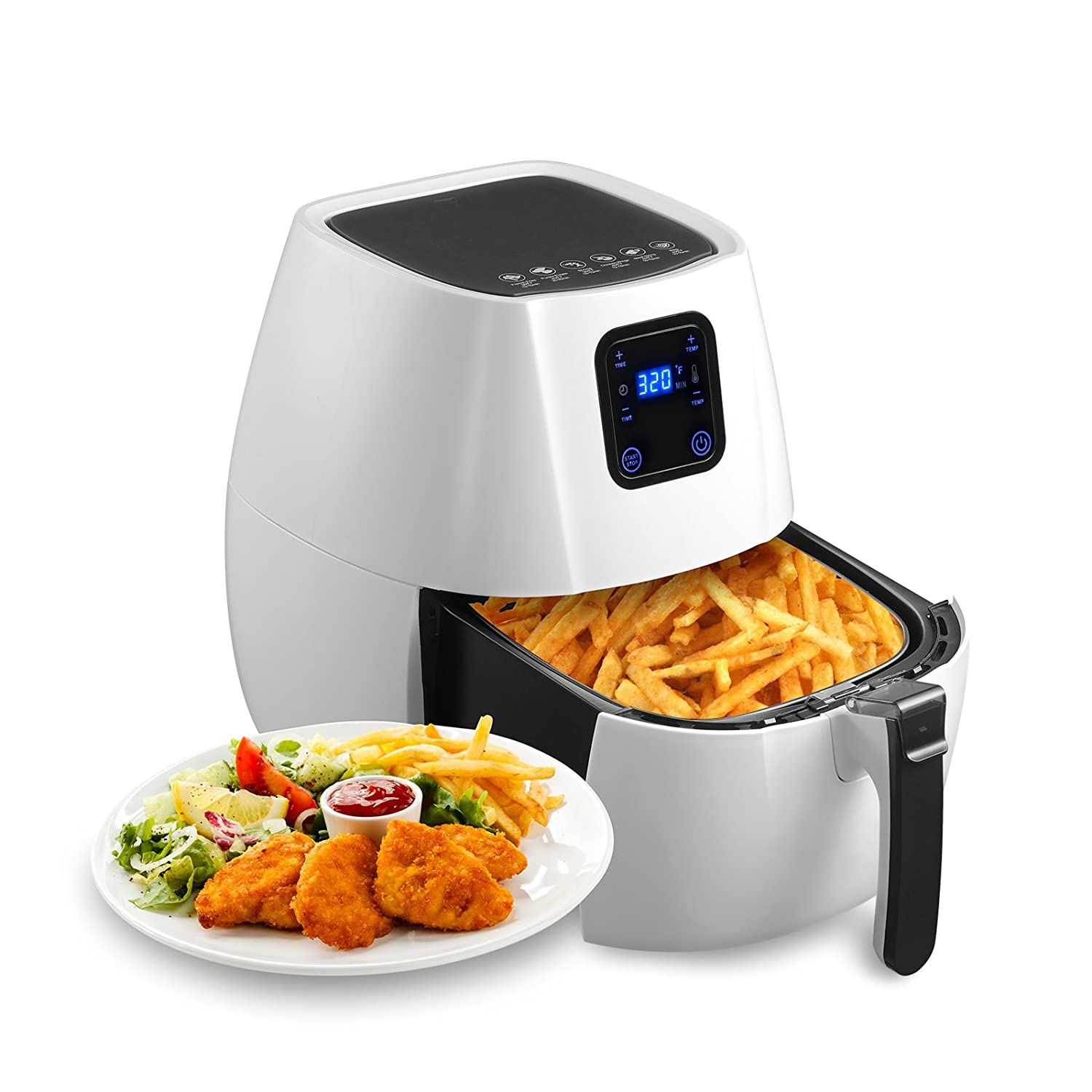 KUPPET Air Fryer-Hot Air/Deep Fryer with Basket/Rapid Air Technology For Less or No Oil/Timer & Temperature Control/8 Cooking Presets/Included Recipe,Steamer,Fryer Pan 1350W (4.76QT Digital, White)