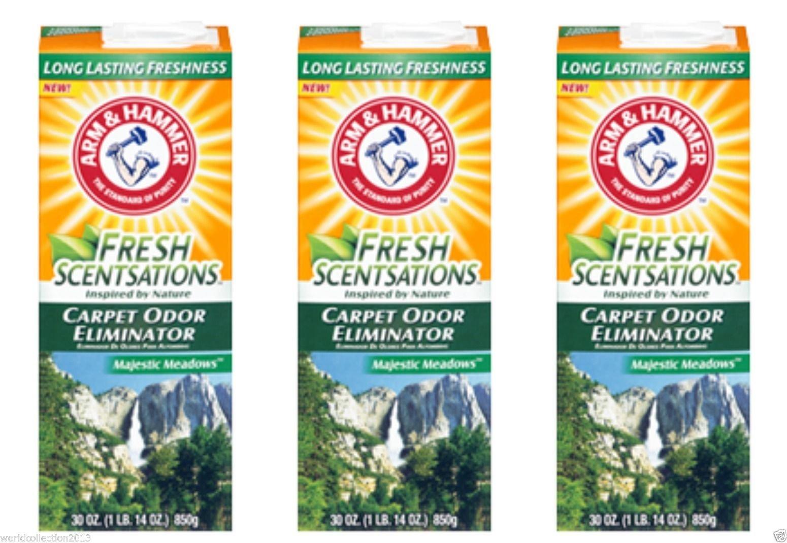 Lot of 3- Arm & Hammer Fresh Sensations Carpet Odor Eliminator Majestic Meadows