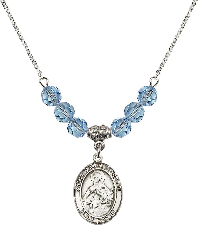 Bonyak Jewelry 18 Inch Rhodium Plated Necklace w// 6mm Blue March Birth Month Stone Beads and Saint Maria Goretti Charm