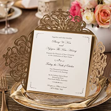 Jofanza Gold Square Laser Cut Wedding Invitations Cards With Lace Floral Cards For Birthday Bridal Shower Marriage Engagement Set Of 20 Pieces