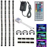 Topled Light® strisce LED di retroilluminazione per TV USB a colori RGB , 4x50cm, illuminazione backlight entertainment, in nero, strisce LED autoadesive, telecomando a infrarossi incluso e il caricabatterie