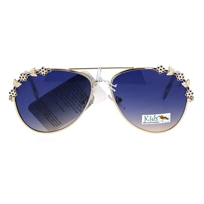 Amazon.com: Girl s Aviator anteojos de sol diseño Floral ...