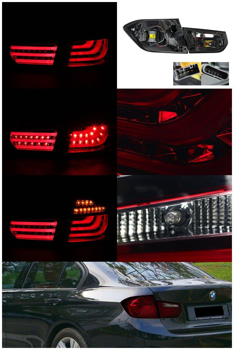 Spec-D Tuning LT-F3013RGLED-V2-APC BMW F30 3-Series 325i 320i 4DR Red Smoke Lens LED Rear Tail Brake Lights