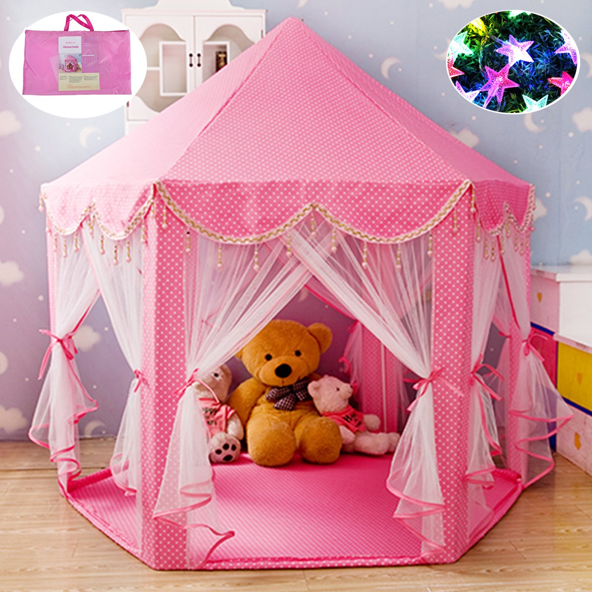 Aubeco Extra Thick Fabric Pink Hexagon Princess Castle with Beading Decoration Cute Indoor Kids Play Tent Outdoor Girls Playhouse with 23ft LED Star String Lights, 55''(Diameter)×53''( Height)