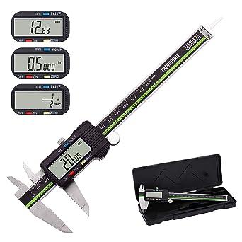 Calibre Digital Valorbros Acero Inoxidable Pie de Rey Calibrador Micrométrico 150 mm / 6 Pulgadas / Fracción con Pantalla Lcd Grande