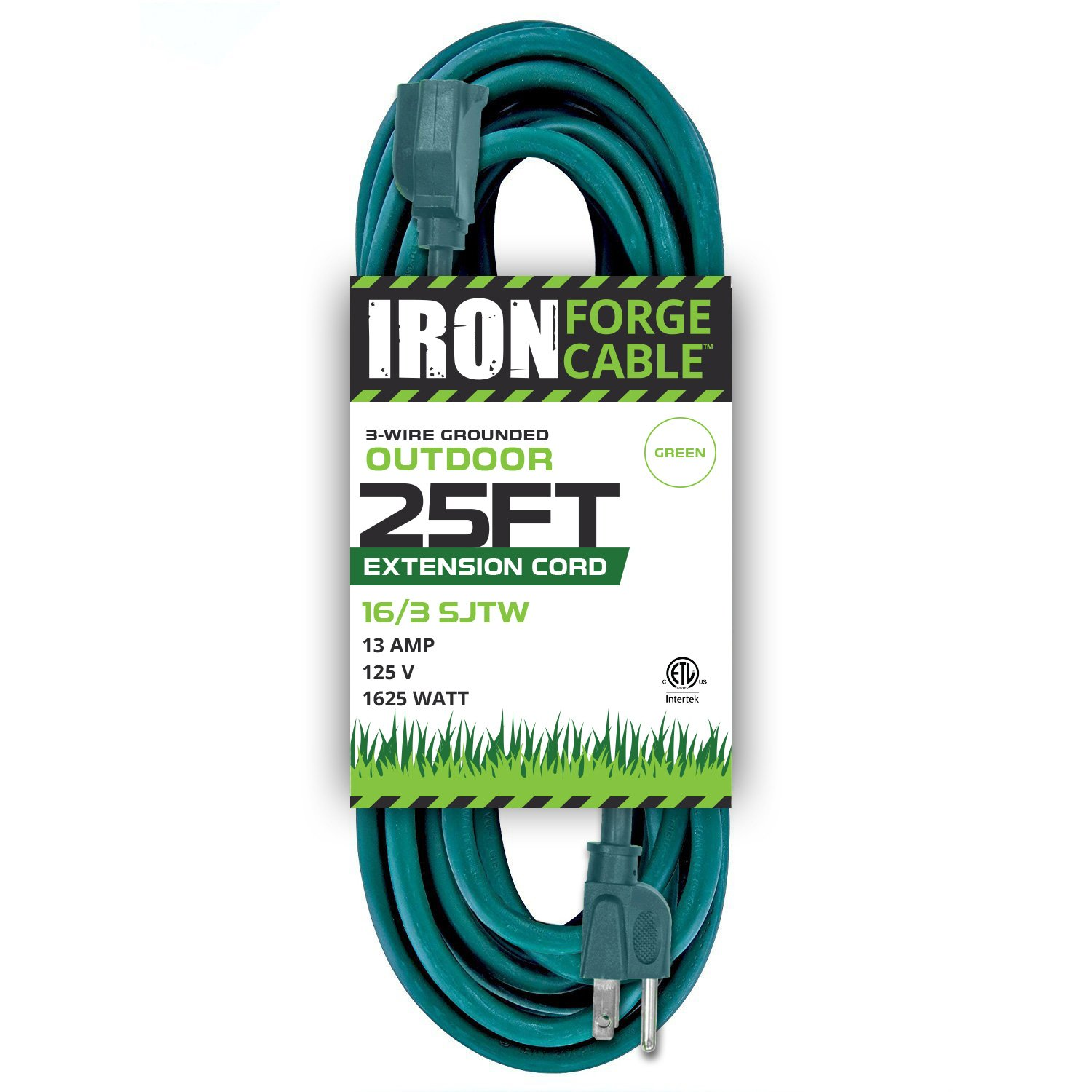 25 Foot Outdoor Extension Cord - 16/3 SJTW Durable Green Extension Cable with 3 Prong Grounded Plug for Safety - Great for Garden and Major Appliances
